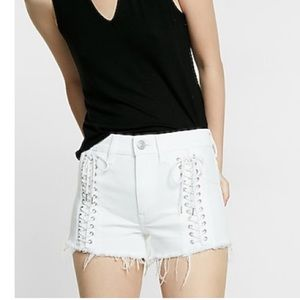 High waisted white lace up shorts